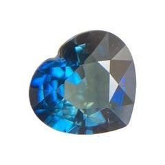 1.19ct Vivid Blue Australia Sapphire Heart Cut Loose Natural Gem
