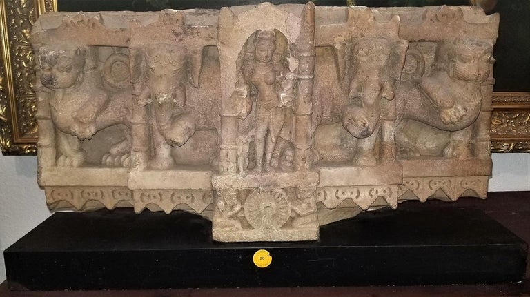 Hand-Carved 11C Ambika Buff Sandstone Western India For Sale