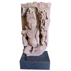 11C Red Sandstone Pot Bellied Vishnu Carving
