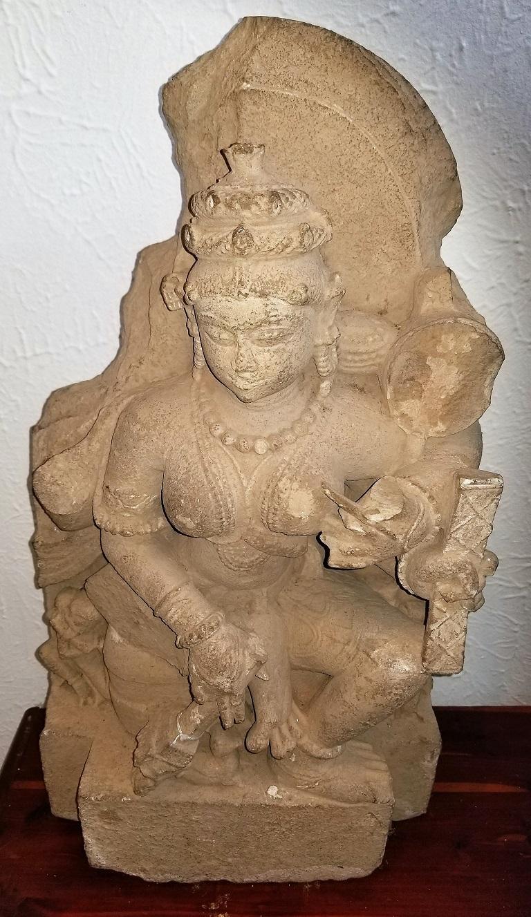 11th Century Saraswati Buff Sandstone In Good Condition For Sale In Dallas, TX