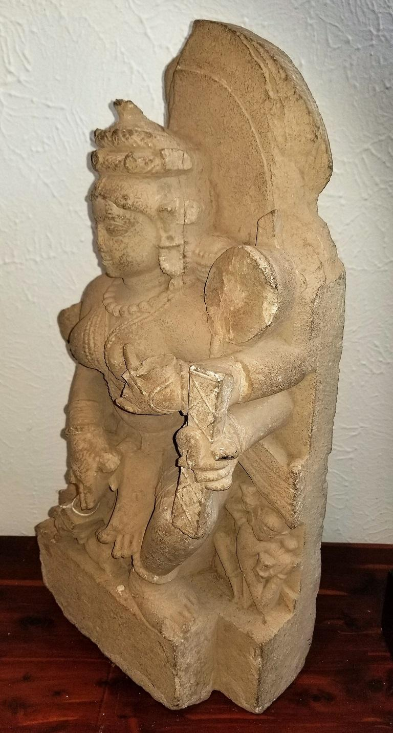 11th Century Saraswati Buff Sandstone For Sale 1