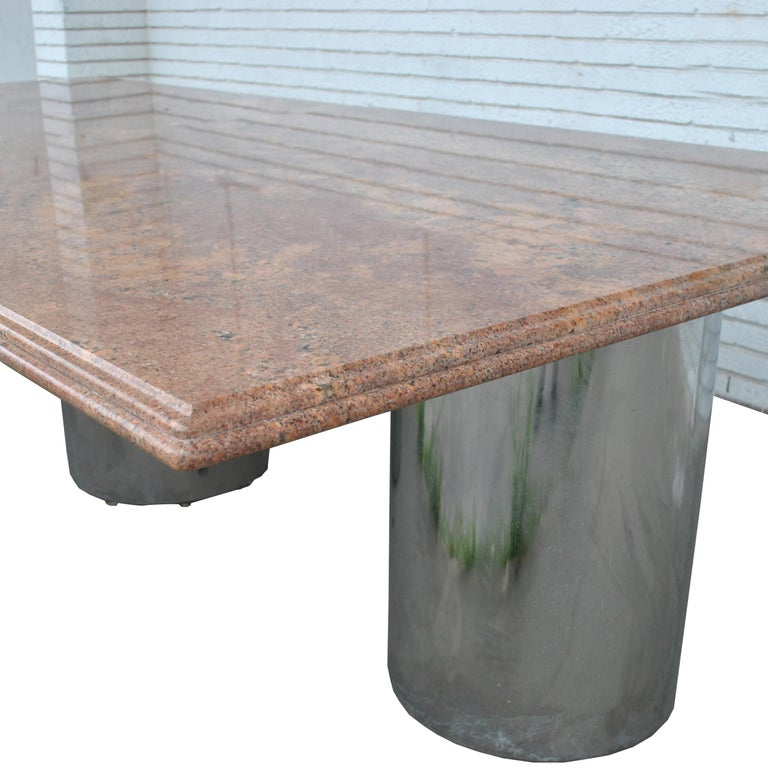 Modern Granite Chrome Conference Table For Sale 5