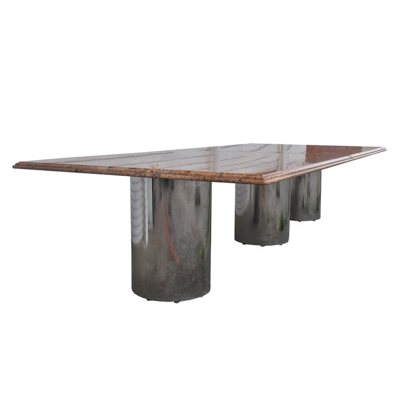 Granite chrome cylinder conference table 