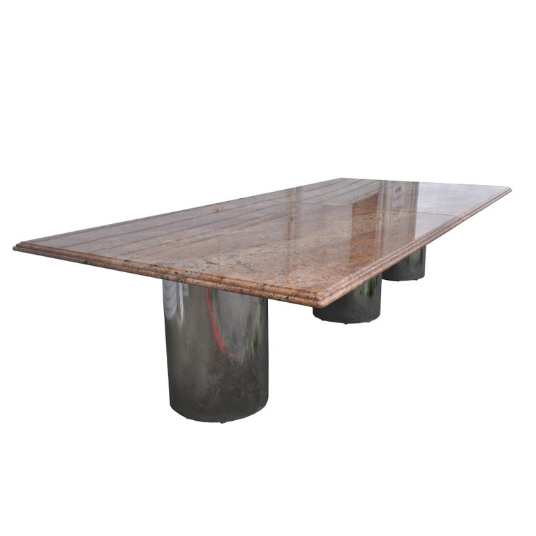 Modern Granite Chrome Conference Table In Good Condition For Sale In Pasadena, TX