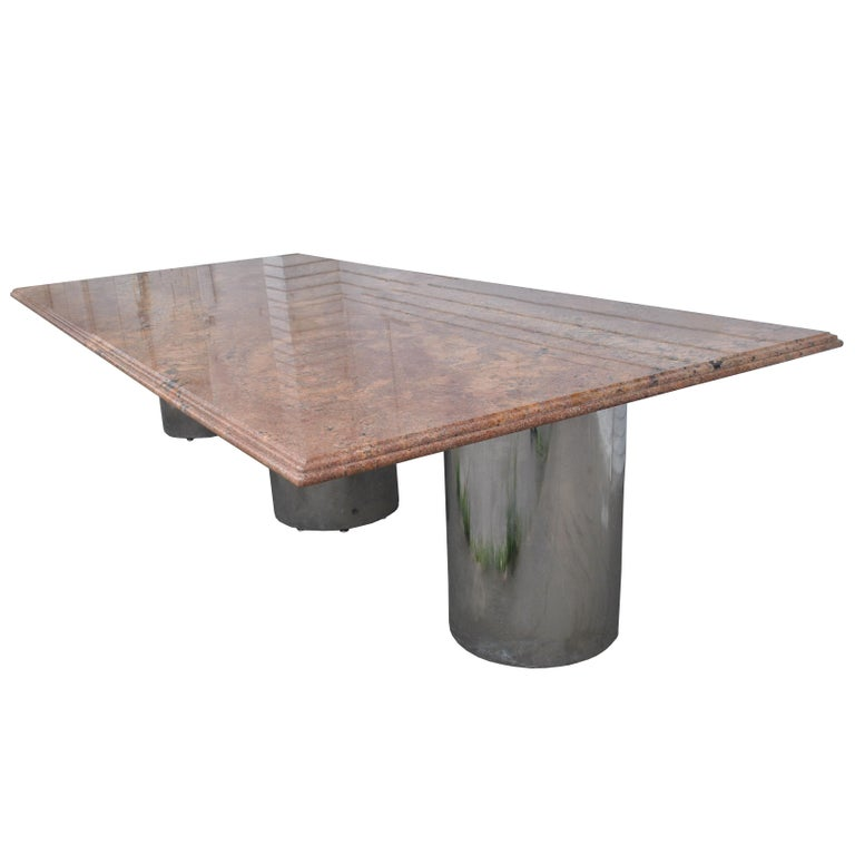 20th Century Modern Granite Chrome Conference Table For Sale