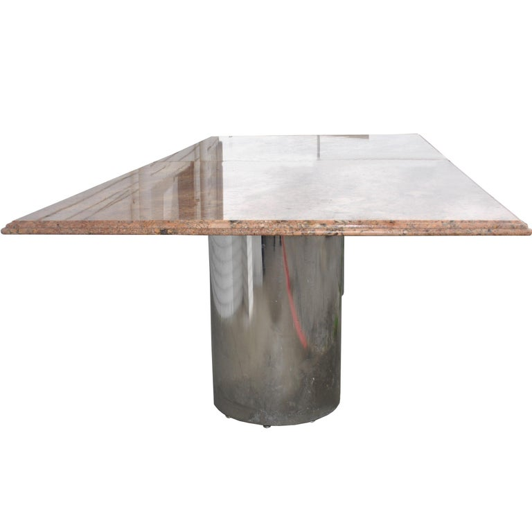 Modern Granite Chrome Conference Table For Sale 2