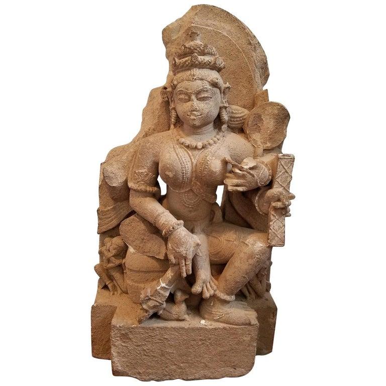11th Century Saraswati Buff Sandstone For Sale