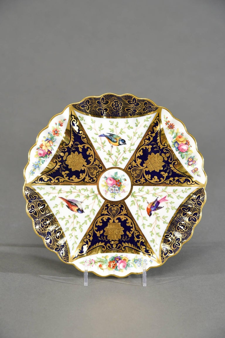 Late 19th Century 12 Aesthetic Movement Spode Copeland Hand-Painted Dessert Plates Cobalt Blue For Sale
