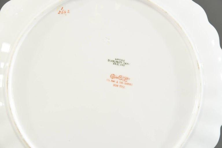 Porcelain 12 Aesthetic Movement Spode Copeland Hand-Painted Dessert Plates Cobalt Blue For Sale