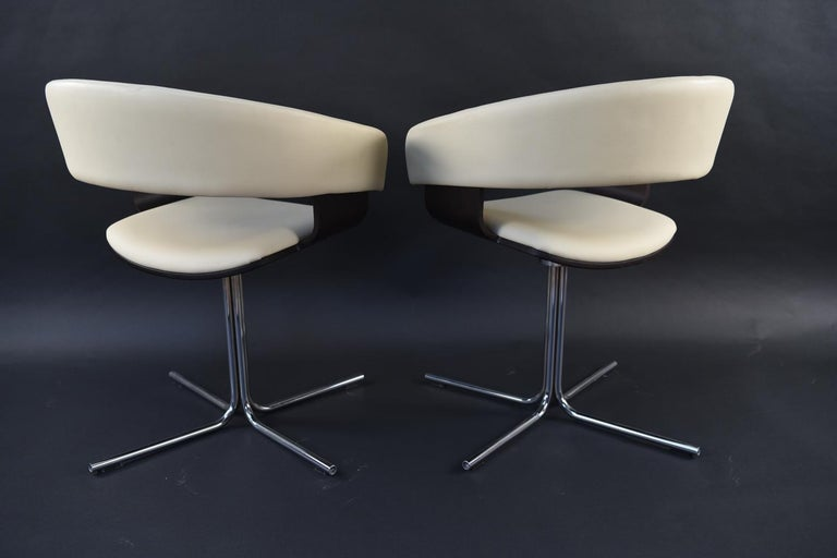 12 Allermuir Mollie Swivel Leather and Chrome Chairs For Sale 5