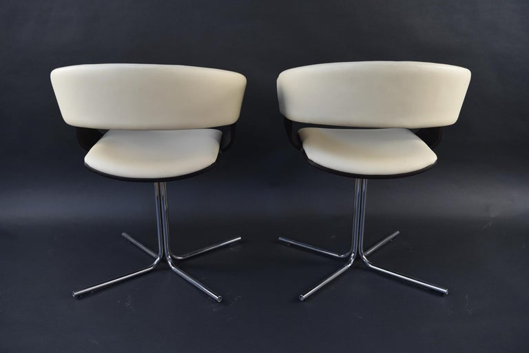 12 Allermuir Mollie Swivel Leather and Chrome Chairs For Sale 6