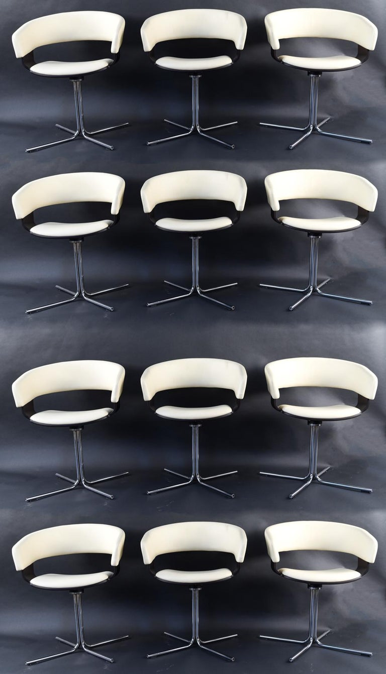 12 Allermuir Mollie Swivel Leather and Chrome Chairs In Good Condition For Sale In Norwalk, CT