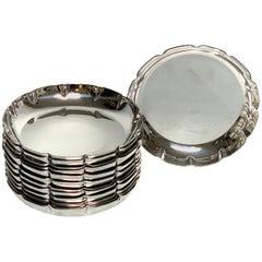 12 American Modern Sterling, Silver Coasters, Heavy