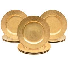 12 Antique All-Over Gilt Encrusted Presentation Plates, England