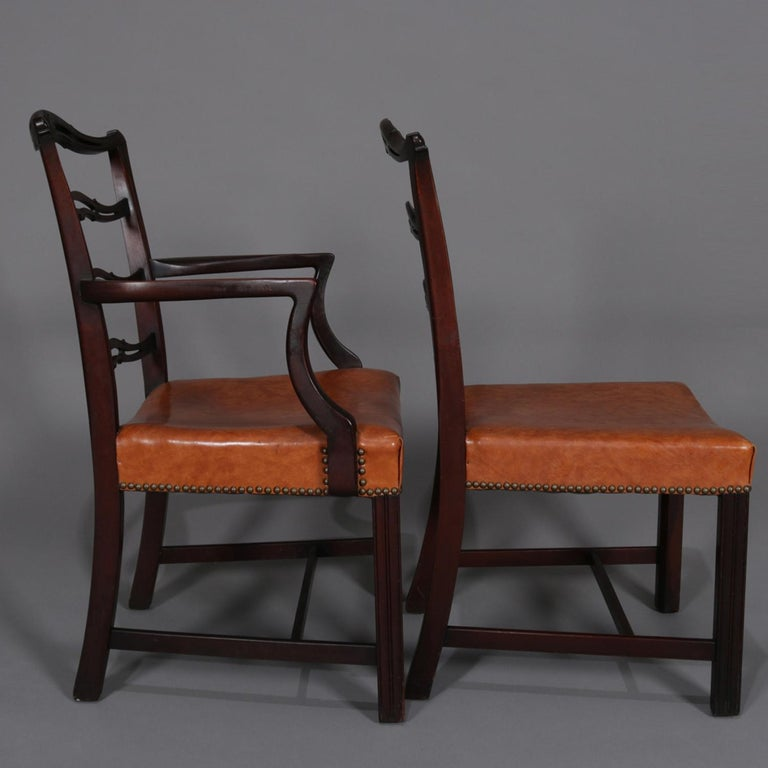 12 Antique Chippendale Style Carved Mahogany Ribbon Back ...