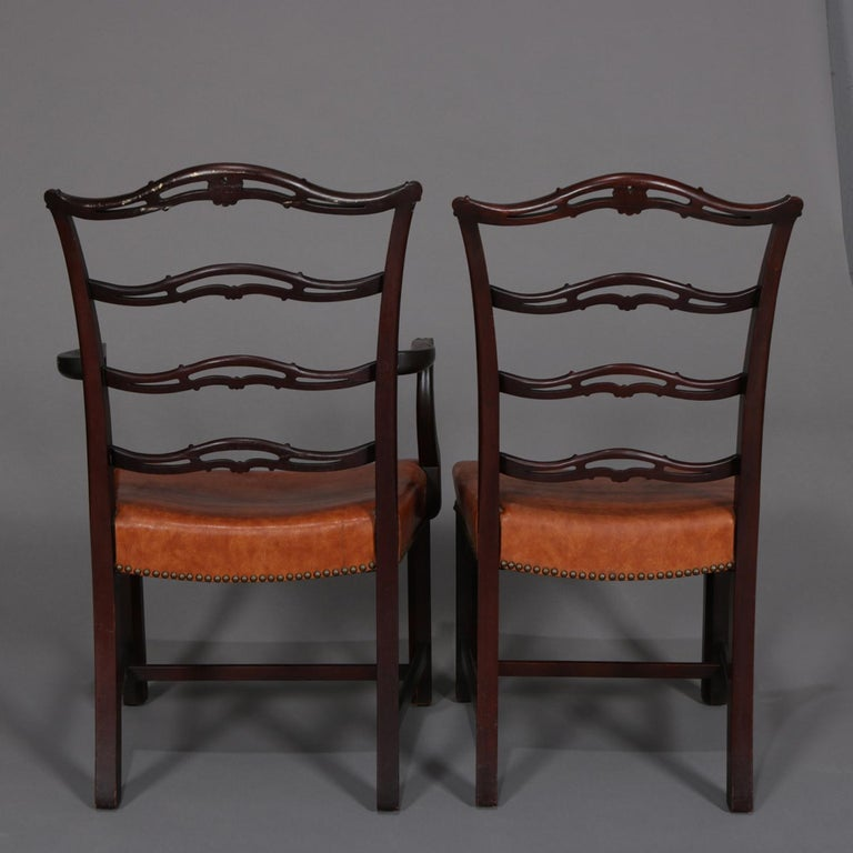 12 Antique Chippendale Style Carved Mahogany Ribbon Back Dining Chairs In Good Condition For Sale In Big Flats, NY