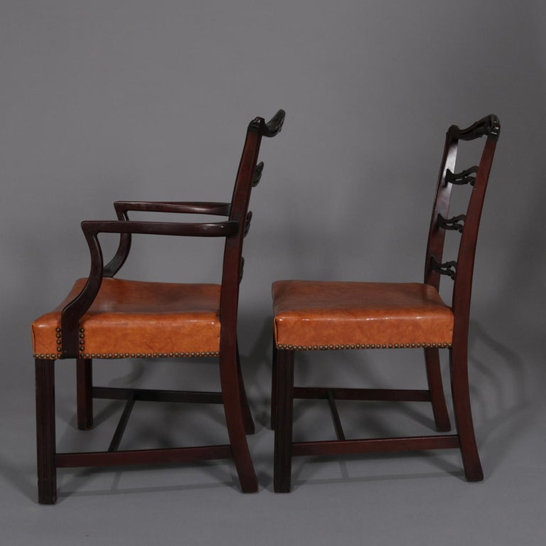 20th Century 12 Antique Chippendale Style Carved Mahogany Ribbon Back Dining Chairs For Sale