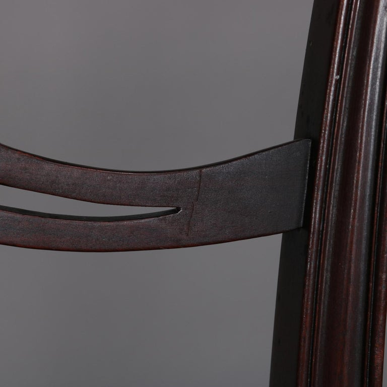 12 Antique Chippendale Style Carved Mahogany Ribbon Back Dining Chairs For Sale 3