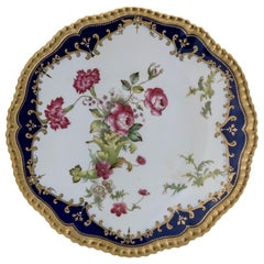 12 Antique English Cobalt Blue Dessert or Cabinet Plates, Great Shape & Details