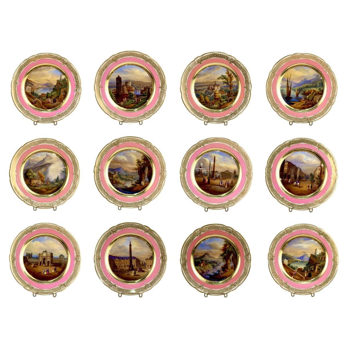 12 Antique French Hand Painted Paris Porcelain Topographical Cabinet Plates