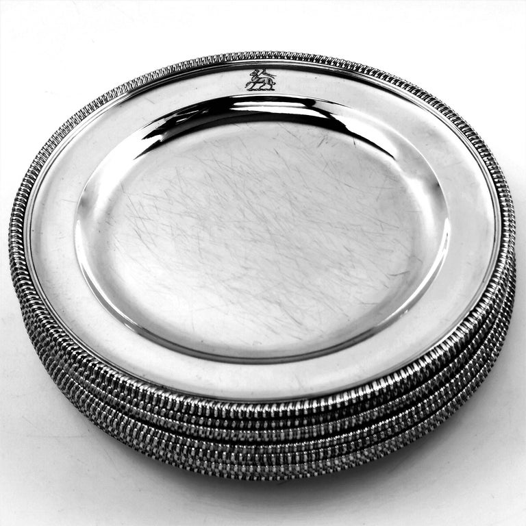 English 12 Antique George III Sterling Silver Dinner Plates 1798 Gadroon, 18th Century For Sale
