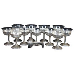 12 Antique Gorham Reticulated Sterling Silver Dessert Aperitif Cordial Glasses