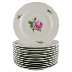 12 Antique Meissen Dinner Plates in Hand Painted Porcelain with Pink Roses
