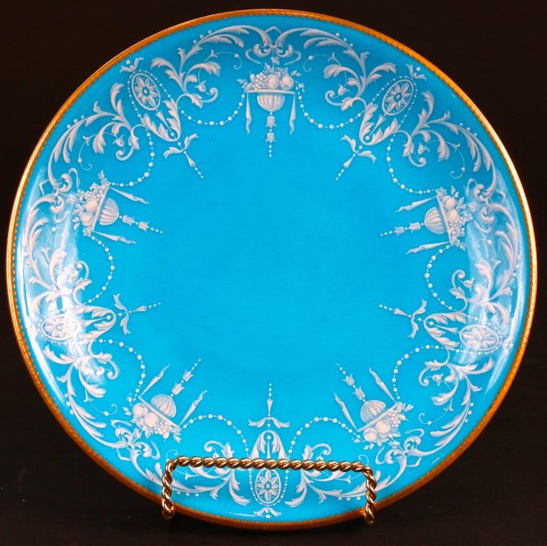 Gorgeous pate-sur-pate turquoise or bleu celeste