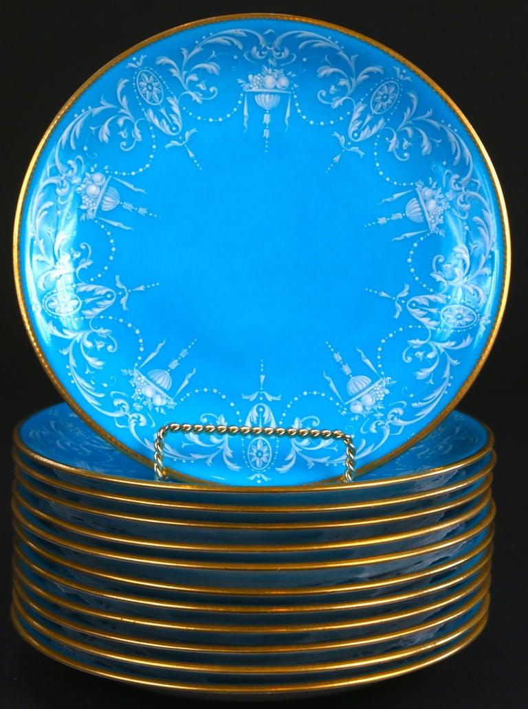 Neoclassical 12 Antique Minton Pate-Sur-Pate Bleu Celeste Plates For Sale