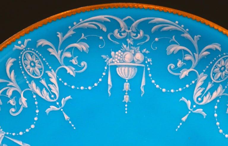 English 12 Antique Minton Pate-Sur-Pate Bleu Celeste Plates For Sale