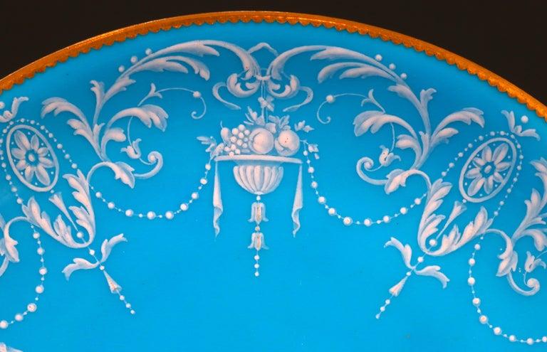 Enameled 12 Antique Minton Pate-Sur-Pate Bleu Celeste Plates For Sale