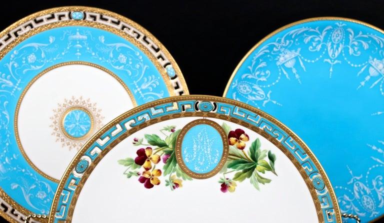 Late 19th Century 12 Antique Minton Pate-Sur-Pate Bleu Celeste Plates For Sale