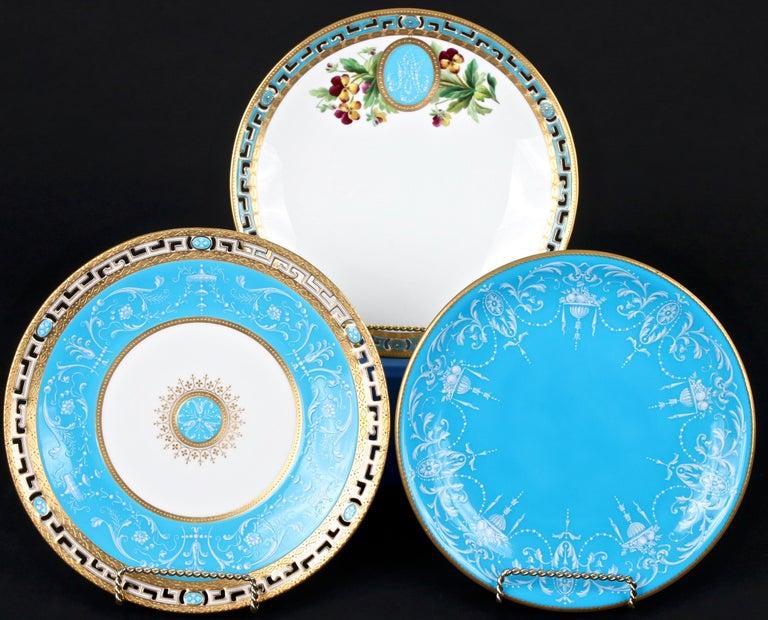 Porcelain 12 Antique Minton Pate-Sur-Pate Bleu Celeste Plates For Sale
