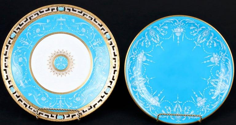 12 Antique Minton Pate-Sur-Pate Bleu Celeste Plates For Sale 1