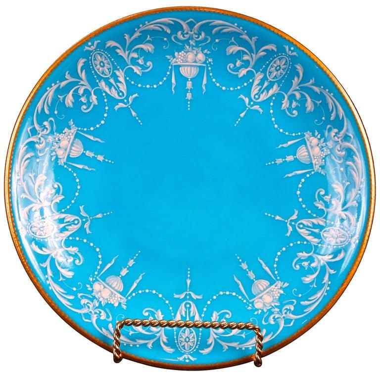 12 Antique Minton Pate-Sur-Pate Bleu Celeste Plates For Sale