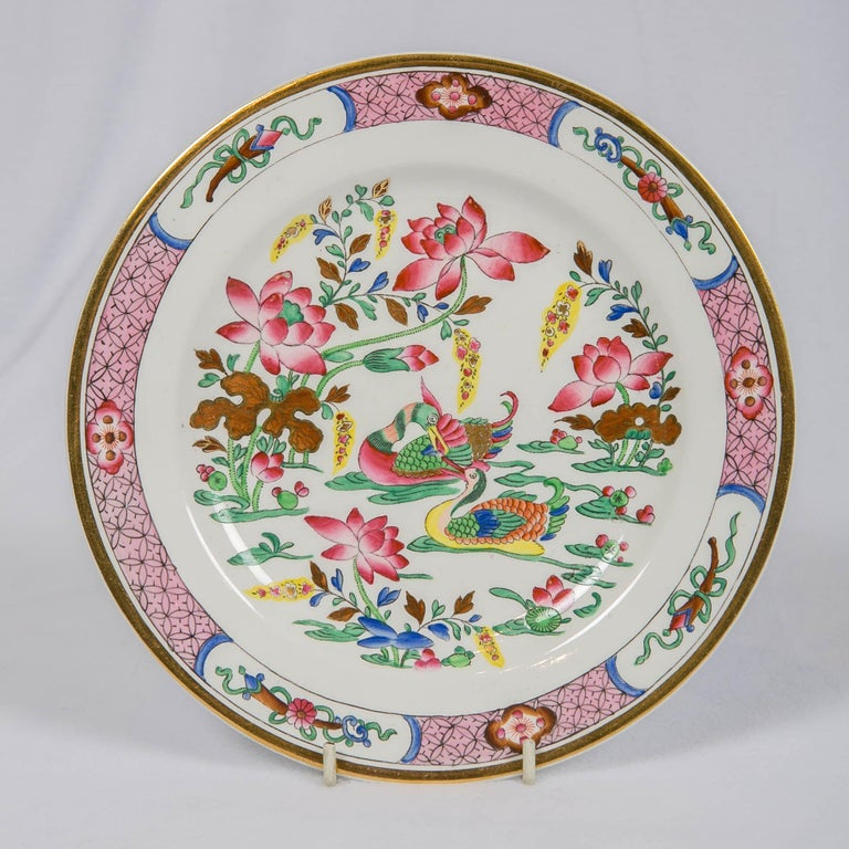 We are pleased to offer this set of twelve antique porcelain plates in the Spode