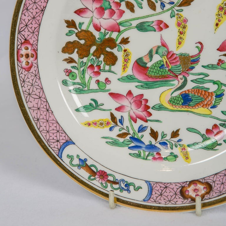 Chinoiserie 12 Antique Pink Porcelain Hand Painted Plates Made in England, circa 1820 For Sale