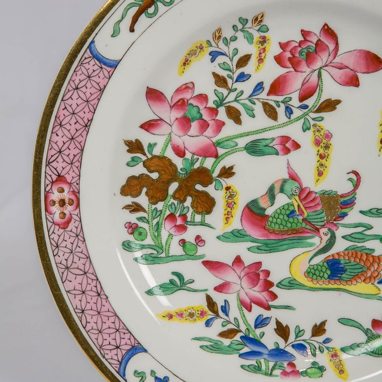 English 12 Antique Pink Porcelain Hand Painted Plates Made in England, circa 1820 For Sale