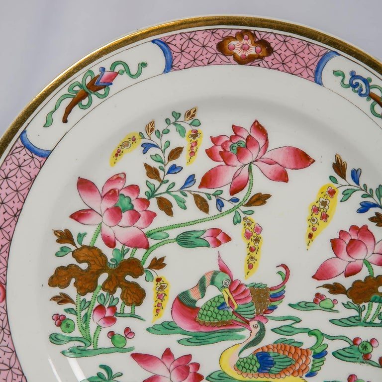 Enameled 12 Antique Pink Porcelain Hand Painted Plates Made in England, circa 1820 For Sale