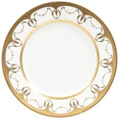 12 Antique White Gilt Rim Soup Bowls, Raised Gold Bead Swag Design, Minton