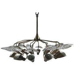 12-Arm Italian Modernist Chandelier Brass with Glass Fans Attributed to Stilnovo