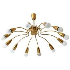 12-Armed Mid-Century Modern Sputnik Brass Chandelier or Pendant Lamp, 1950s