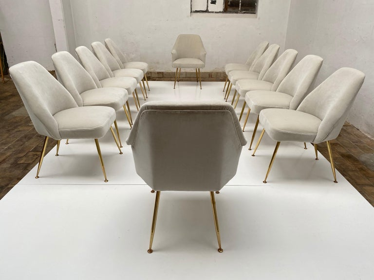 Amazing set of twelve restored 'Campanula' dining chairs with beautiful tapered form brass legs by Italian architect Carlo Pagani (architectural partner of both Gio Ponti and Lina Bo Bardi) for Arflex, Italy, 1952. 