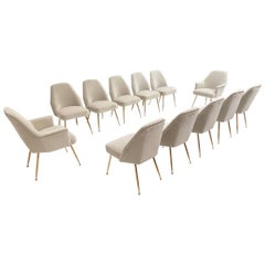 12 Brass Leg Chairs by Pagani Partner of Gio Ponti & Lina Bo Bardi, 1952, Arflex