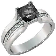 1.2 Carat 14 Karat White Gold Certified Princess Black Diamond Engagement Ring