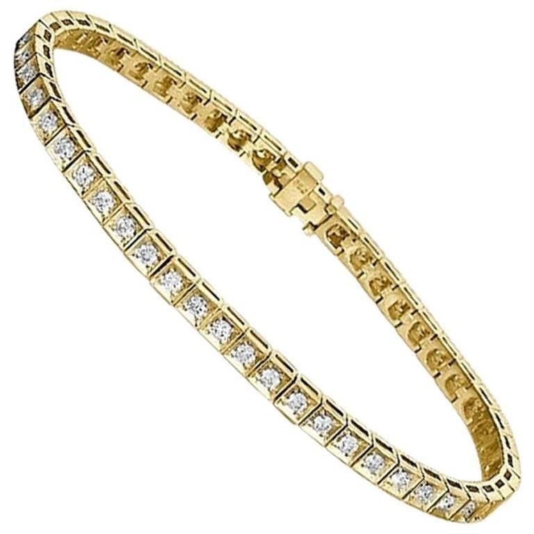 Round Cut 1.2 Carat 14 Karat Yellow Gold Round Diamond Bracelet, Classic Diamond Bracelet For Sale