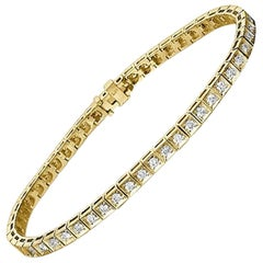 1.2 Carat 14 Karat Yellow Gold Round Diamond Bracelet, Classic Diamond Bracelet