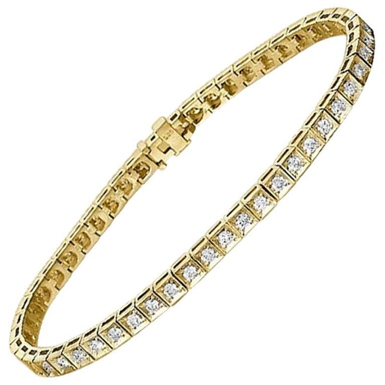 1.2 Carat 14 Karat Yellow Gold Round Diamond Bracelet, Classic Diamond Bracelet For Sale