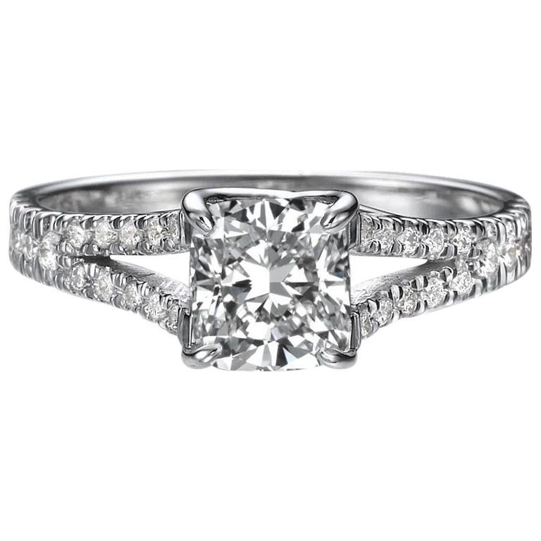 1.2 Carat 14 Karat White Gold Princess Diamond Engagement Ring
