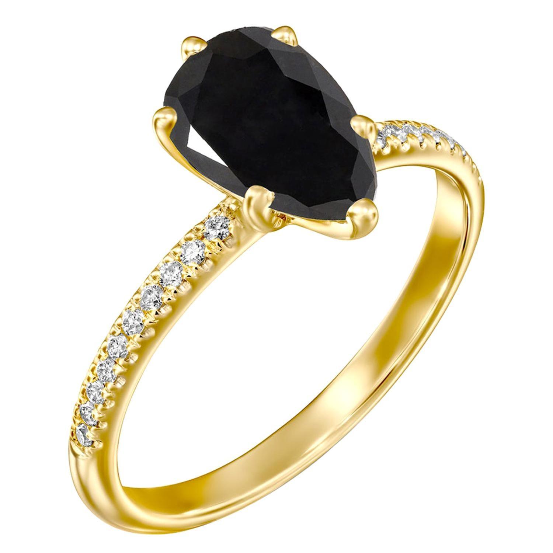 1.2 Carat 14 Karat Yellow Gold Certified Pear Black Diamond Engagement Ring
